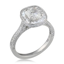 Cathedral and Pave Cushion Halo Engagement Ring