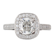 Cathedral and Pave Cushion Halo Engagement Ring - top view