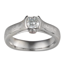 Mokume Cathedral Engagement Ring with Side Stone - top view