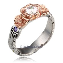 Feather Claw Rose Daisy Engagement Ring