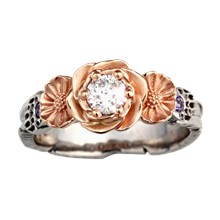 Feather Claw Rose Daisy Engagement Ring - top view