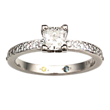 Square Head Solitaire Engagement Ring - top view