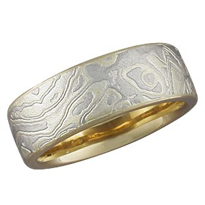 Summer Mokume Band with a Yellow Gold Liner, Heavy Etch and Micro-edge