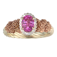 Floral Bouquet Rope Shank Engagement Ring - top view