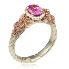 Floral Bouquet Rope Shank Engagement Ring