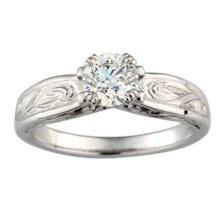 Vintage Curlicue Solitaire Engagement Ring - top view