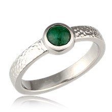 Jade Bezel Hammered Engagement Ring