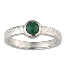 Jade Bezel Hammered Engagement Ring - top view