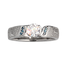 Mokume Elegant Swirl Engagement Ring - top view