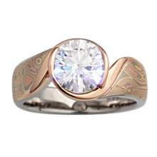 Modern Mokume Swirl Solitaire - top view