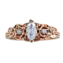 Floral Bouquet Marquise Engagement Ring - top view