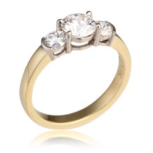 Traditional Basket Three Stone Engagement Ring