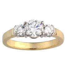 Sleek Three Stone Engagement Ring - top view