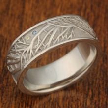 Tree of Life Wedding Band with Diamond Accents Size 6.75