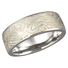 Summer Mokume Band with a Light Etch