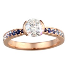 Elegant Tapered Sparkle Engagement Ring - top view