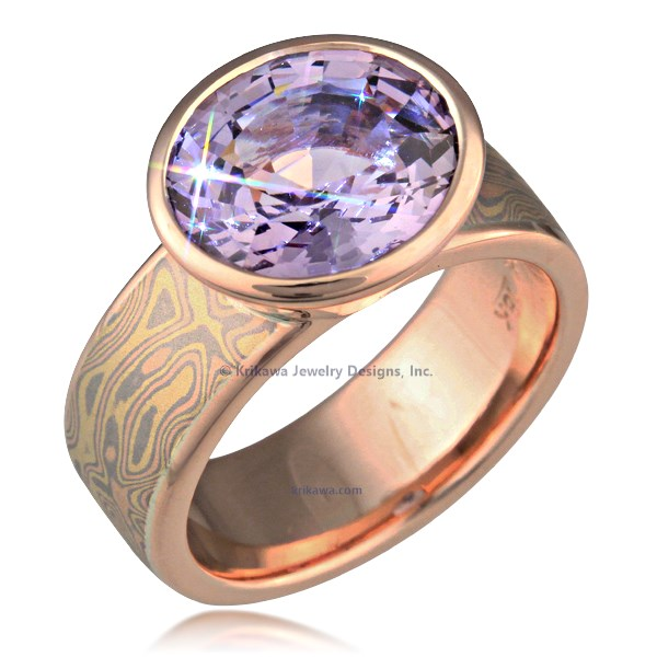 Mokume Bezel Radiant Solitaire Engagement Ring