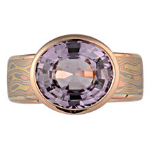 Mokume Bezel Radiant Solitaire Engagement Ring - top view