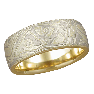 Summer Mokume Band with Heavy Etch and Yellow Gold Liner