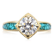 Turquoise Flair Engagement Ring - top view