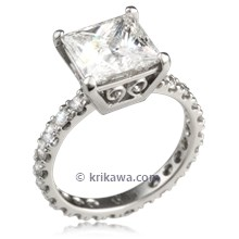 Brilliant Scrolls Pave Engagement Ring