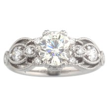 Vintage Millegrain Ribbon Curl Engagement Ring - top view