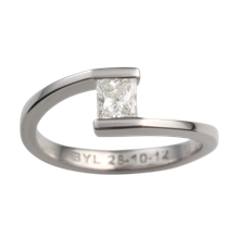 Sleek Solitaire Crossover Engagement Ring - top view