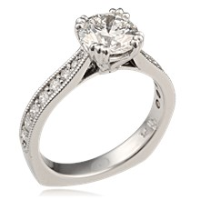 Regal Millegrain Cathedral Engagement Ring