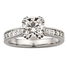 Regal Millegrain Cathedral Engagement Ring - top view