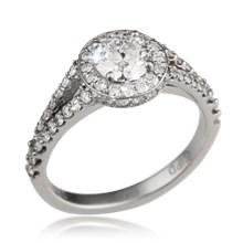 Opulent Halo Scalloped Engagement Ring