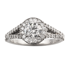 Opulent Halo Scalloped Engagement Ring - top view