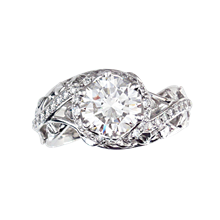 Radiant Swirl Leaf Engagement Ring - top view