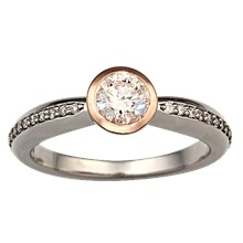 Tapered Modern Bezel Set Engagement Ring - top view