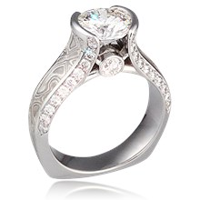 Mokume Juicy Light Bezel Engagement Ring