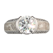 Mokume Juicy Light Bezel Engagement Ring - top view