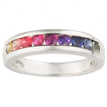 Rainbow Sapphire Wedding Band - top view