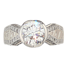 Mokume Cross Metal Juicy Light Engagement Ring - top view