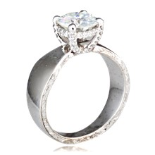 Engraved Pave Tapered Engagement Ring
