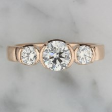 Modern Rounds Three Stone Engagement Ring - top view