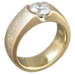Mokume Flush Stone Solitaire with Trigold Mokume