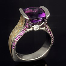 Amethyst Juicy Bezel Engagement Ring Size 7