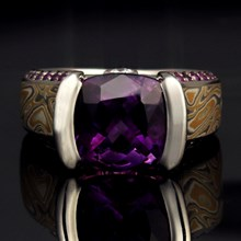 Amethyst Juicy Light Bezel Engagement Ring - top view