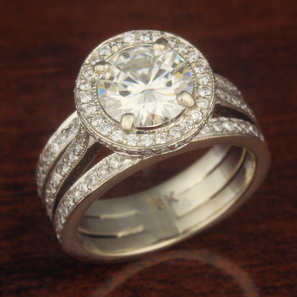 tri band engagement ring with diamonds and moissanite