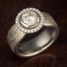 Mokume Tapered Engagement Ring with Halo