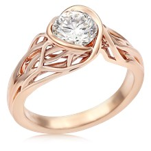 Embracing Tree Branch Bezel Engagement Ring