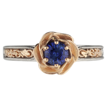 Vintage Scrollwork Rose Engagement Ring - top view
