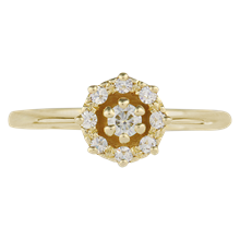 Petite Vintage Halo Engagement Ring - top view