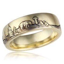 Bear Cross Nature Wedding Band