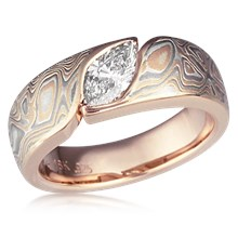 Mokume Wave Engagement Ring - Marquise