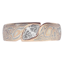 Mokume Wave Engagement Ring - Marquise  - top view